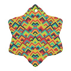 Trendy Chic Modern Chevron Pattern Snowflake Ornament (2-Side)