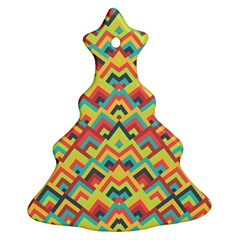 Trendy Chic Modern Chevron Pattern Christmas Tree Ornament (2 Sides)