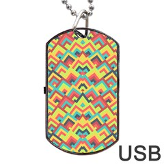 Trendy Chic Modern Chevron Pattern Dog Tag USB Flash (Two Sides)