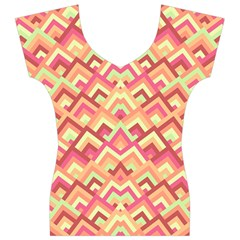 Trendy Chic Modern Chevron Pattern Women s V-Neck Cap Sleeve Top