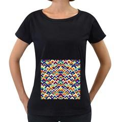 Trendy Chic Modern Chevron Pattern Women s Loose-Fit T-Shirt (Black)