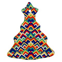 Trendy Chic Modern Chevron Pattern Ornament (Christmas Tree)