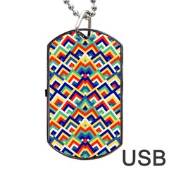 Trendy Chic Modern Chevron Pattern Dog Tag Usb Flash (one Side)