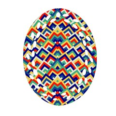 Trendy Chic Modern Chevron Pattern Oval Filigree Ornament (2-Side)