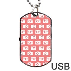 Modern Chic Vector Camera Illustration Pattern Dog Tag Usb Flash (one Side)