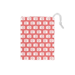 Modern Chic Vector Camera Illustration Pattern Drawstring Pouches (small)