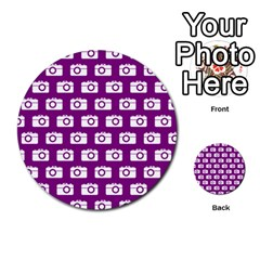 Modern Chic Vector Camera Illustration Pattern Multi-purpose Cards (Round)