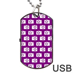 Modern Chic Vector Camera Illustration Pattern Dog Tag USB Flash (Two Sides)
