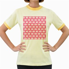 Pink Modern Chic Vector Camera Illustration Pattern Women s Fitted Ringer T Shirts