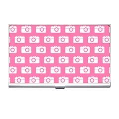 Pink Modern Chic Vector Camera Illustration Pattern Business Card Holders