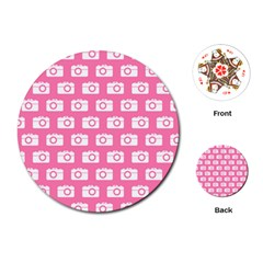 Pink Modern Chic Vector Camera Illustration Pattern Playing Cards (Round)
