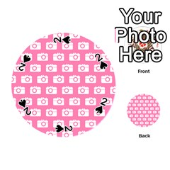 Pink Modern Chic Vector Camera Illustration Pattern Playing Cards 54 (Round)