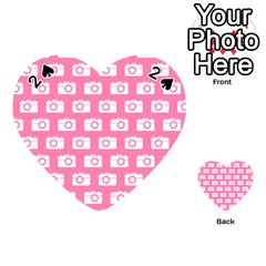 Pink Modern Chic Vector Camera Illustration Pattern Playing Cards 54 (Heart)