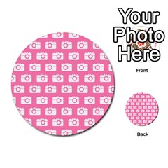 Pink Modern Chic Vector Camera Illustration Pattern Multi-purpose Cards (Round)