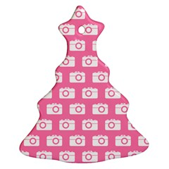 Pink Modern Chic Vector Camera Illustration Pattern Ornament (christmas Tree)