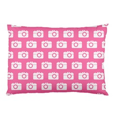 Pink Modern Chic Vector Camera Illustration Pattern Pillow Cases (Two Sides)