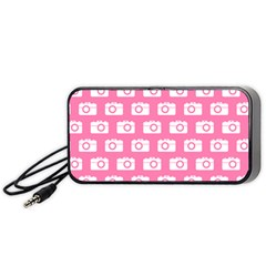 Pink Modern Chic Vector Camera Illustration Pattern Portable Speaker (Black)