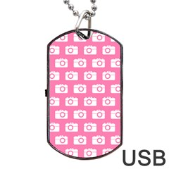 Pink Modern Chic Vector Camera Illustration Pattern Dog Tag USB Flash (Two Sides)