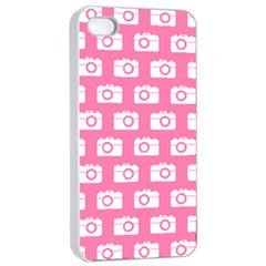 Pink Modern Chic Vector Camera Illustration Pattern Apple Iphone 4/4s Seamless Case (white)