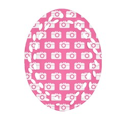 Pink Modern Chic Vector Camera Illustration Pattern Oval Filigree Ornament (2-Side)