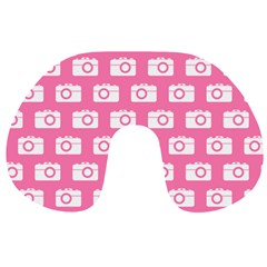 Pink Modern Chic Vector Camera Illustration Pattern Travel Neck Pillows