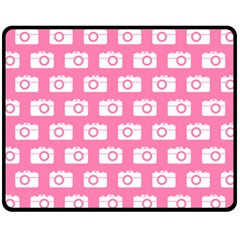 Pink Modern Chic Vector Camera Illustration Pattern Double Sided Fleece Blanket (Medium)