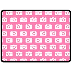 Pink Modern Chic Vector Camera Illustration Pattern Double Sided Fleece Blanket (Large)