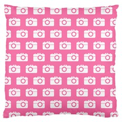 Pink Modern Chic Vector Camera Illustration Pattern Standard Flano Cushion Cases (one Side)