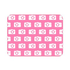 Pink Modern Chic Vector Camera Illustration Pattern Double Sided Flano Blanket (Mini)