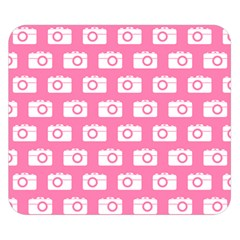 Pink Modern Chic Vector Camera Illustration Pattern Double Sided Flano Blanket (small)