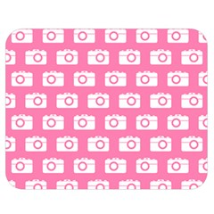 Pink Modern Chic Vector Camera Illustration Pattern Double Sided Flano Blanket (Medium)