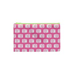 Pink Modern Chic Vector Camera Illustration Pattern Cosmetic Bag (XS)