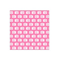 Pink Modern Chic Vector Camera Illustration Pattern Satin Bandana Scarf