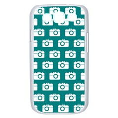 Modern Chic Vector Camera Illustration Pattern Samsung Galaxy S III Case (White)