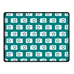 Modern Chic Vector Camera Illustration Pattern Double Sided Fleece Blanket (small)