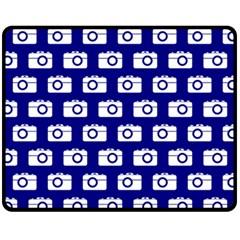 Modern Chic Vector Camera Illustration Pattern Fleece Blanket (Medium)