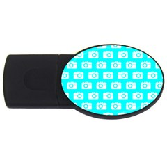 Modern Chic Vector Camera Illustration Pattern Usb Flash Drive Oval (2 Gb)