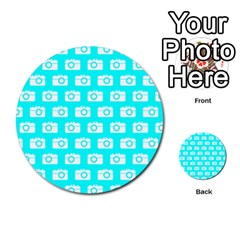 Modern Chic Vector Camera Illustration Pattern Multi Purpose Cards (round)