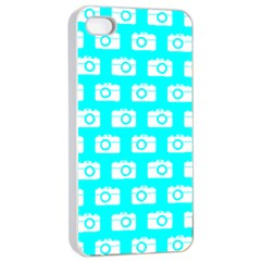 Modern Chic Vector Camera Illustration Pattern Apple iPhone 4/4s Seamless Case (White)