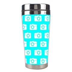 Modern Chic Vector Camera Illustration Pattern Stainless Steel Travel Tumblers