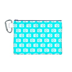 Modern Chic Vector Camera Illustration Pattern Canvas Cosmetic Bag (m)