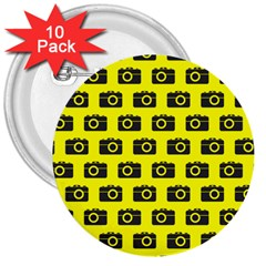 Modern Chic Vector Camera Illustration Pattern 3  Buttons (10 Pack)