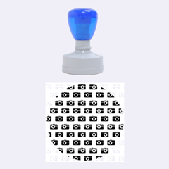 Modern Chic Vector Camera Illustration Pattern Rubber Round Stamps (Medium)