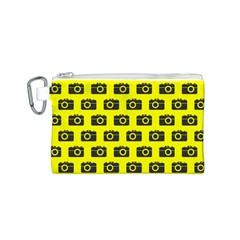 Modern Chic Vector Camera Illustration Pattern Canvas Cosmetic Bag (S)