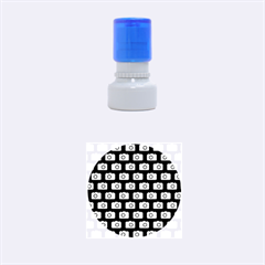 Modern Chic Vector Camera Illustration Pattern Rubber Round Stamps (Small)