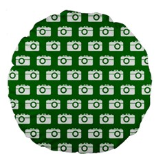 Modern Chic Vector Camera Illustration Pattern Large 18  Premium Flano Round Cushions