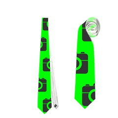 Modern Chic Vector Camera Illustration Pattern Neckties (One Side)