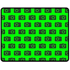 Modern Chic Vector Camera Illustration Pattern Fleece Blanket (Medium)