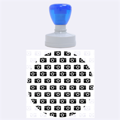 Modern Chic Vector Camera Illustration Pattern Rubber Round Stamps (Large)