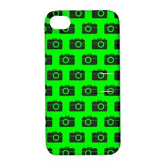 Modern Chic Vector Camera Illustration Pattern Apple Iphone 4/4s Hardshell Case With Stand